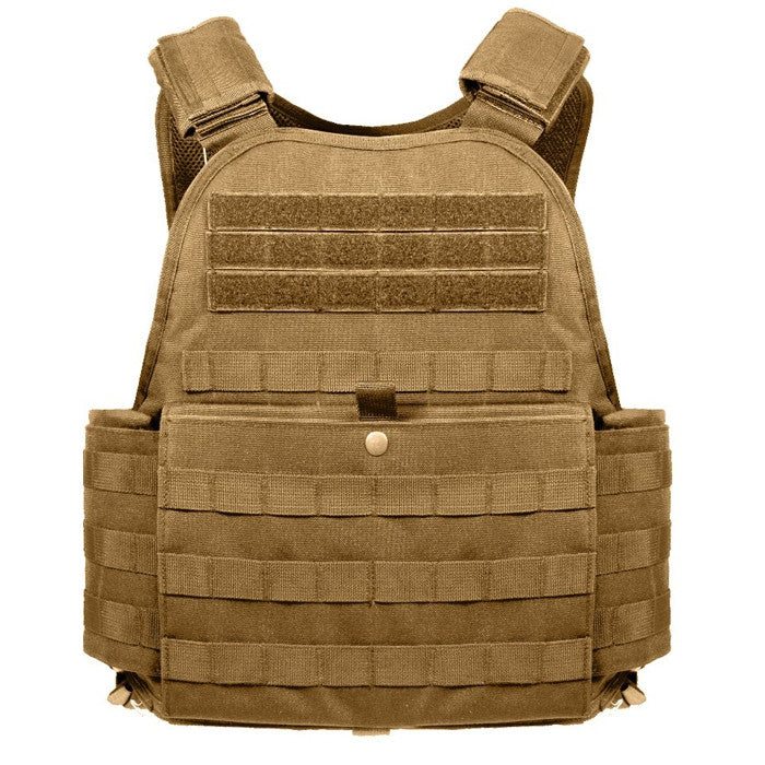 Coyote Brown - Military Tactical MOLLE Plate Carrier Armor Vest