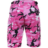 Pink Camouflage - Military Cargo BDU Shorts - Polyester Cotton Twill