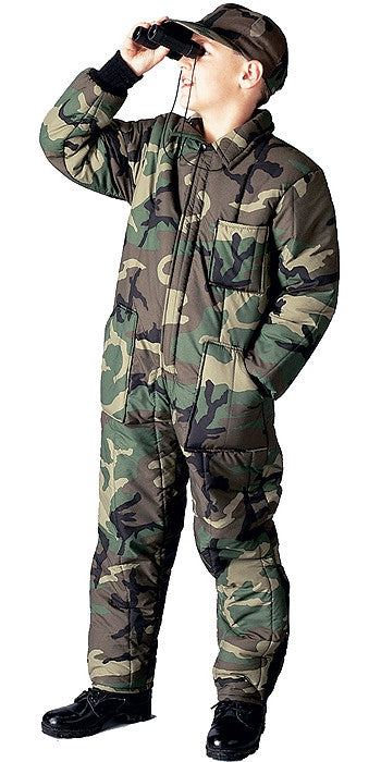 Woodland Camouflage - Kids Military Cold Weather Insulated Coveralls ... 5216d46dd02