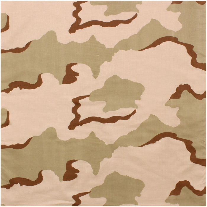 Tri-Color Desert Camouflage - Military Jumbo Bandana 27 in. x 27 in.