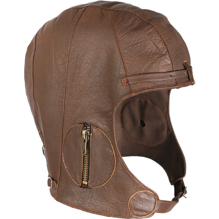 Brown - WWII Style Leather Pilots Helmet