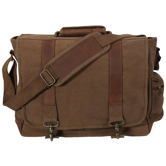 Earth Brown - Pathfinder Laptop Shoulder Bag - Leather Canvas