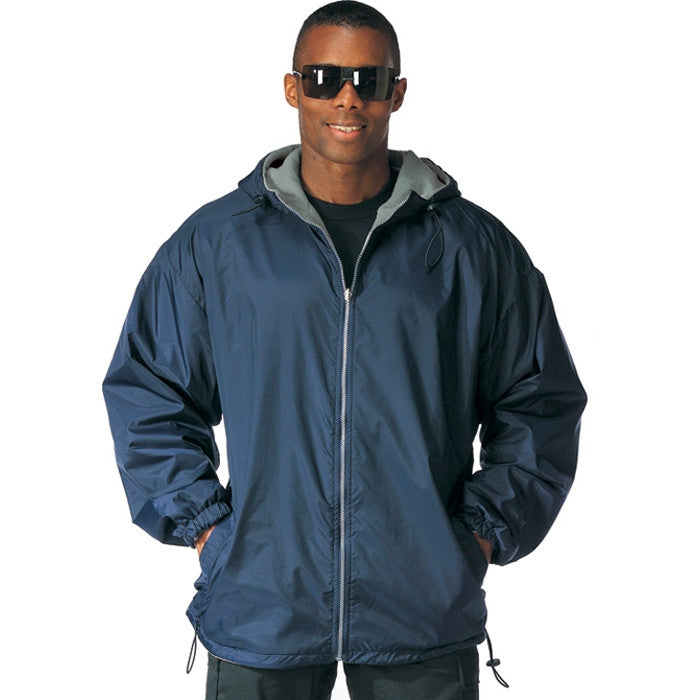 Navy Blue - Reversible Fleece-Lined Hooded Jacket - Nylon