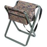 Digital Woodland Camouflage - Military Deluxe Folding Stool with Pouch