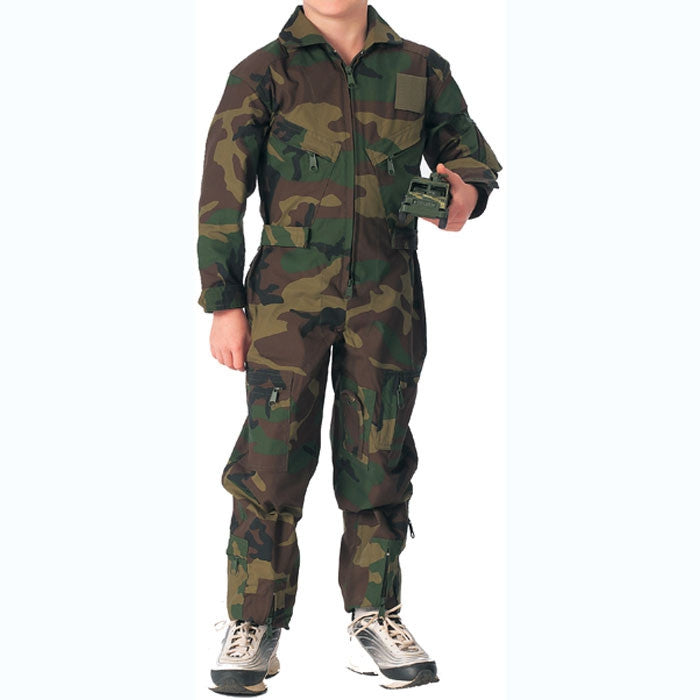 Woodland Camouflage - Kids Air Force Style Flight Suit