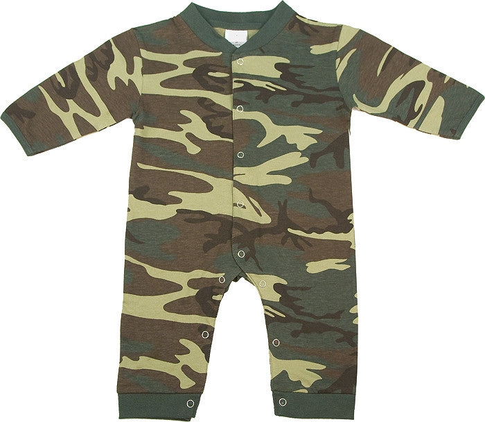 Woodland Camouflage - Military Long Sleeve Legs Infant One-Piece Suit