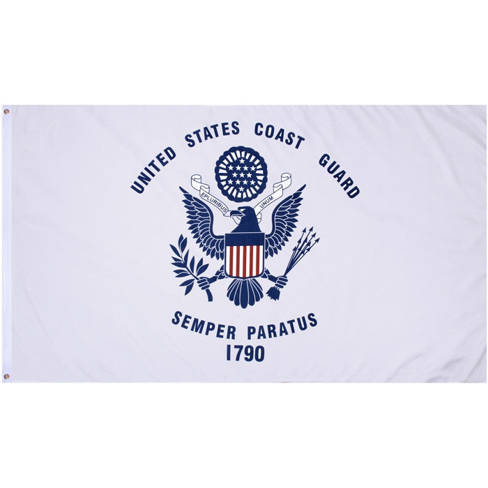 White - US COAST GUARD Flag with US Army Emblem 3' x 5' Flag