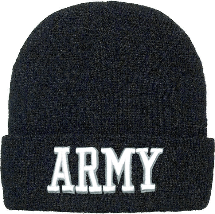 Black - Deluxe ARMY Embroidered Watch Cap with White Lettering