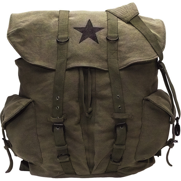 Olive Drab - Vintage Army Style Backpack with Black Star Emblem