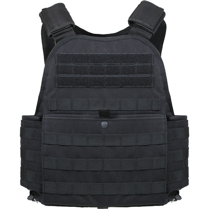 Black - Military Tactical MOLLE Plate Carrier Armor Vest