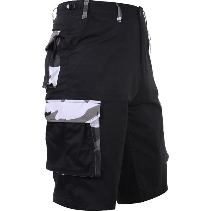 Black with City Camouflage Accents - Military Long Cargo BDU Shorts - Polyester Cotton Twill
