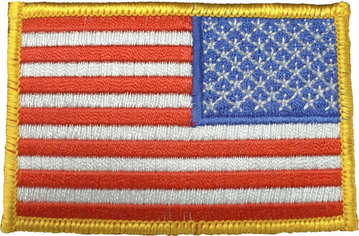 Red White Blue - Reversed US Flag Sew On Patch with Gold Border