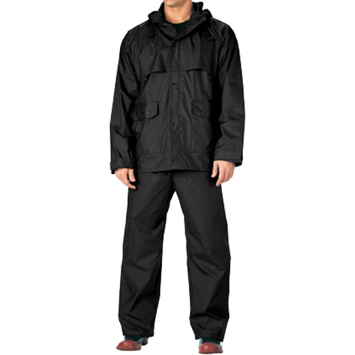 Black - Heavy Duty 2-Piece PVC Pants & Coat Rainsuit