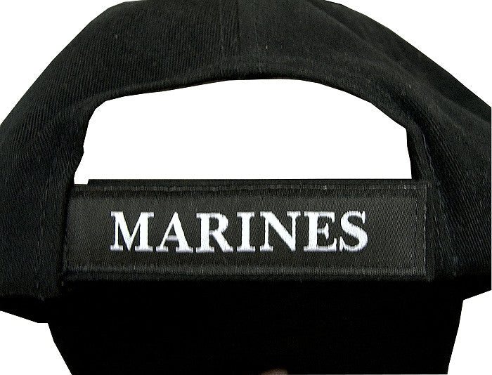 Black - USMC Deluxe Adjustable Cap with Globe and Anchor Emblem