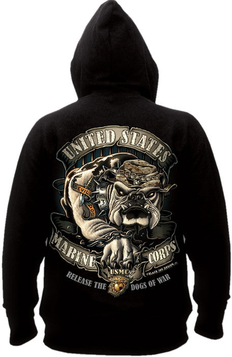 Black - USMC Bulldog Hooded Sweatshirt