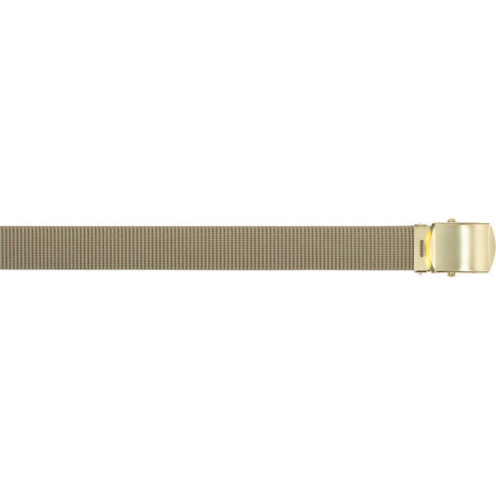 Khaki - Military Web Belt with Brass Buckle - Nylon 54 in.