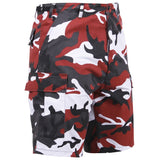 Red Camouflage - Military Cargo BDU Shorts - Polyester Cotton Twill