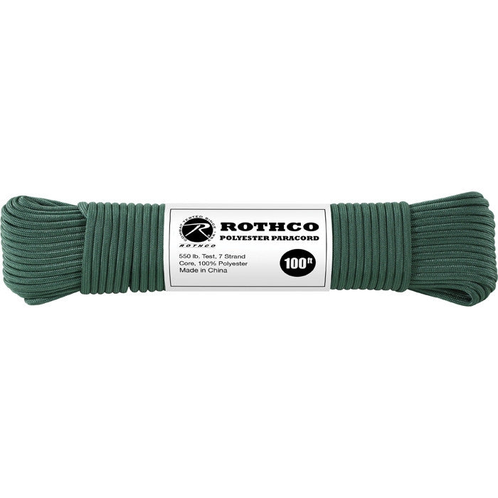 Hunter Green - Polyester 550 LB Tested 100 Feet Paracord Rope