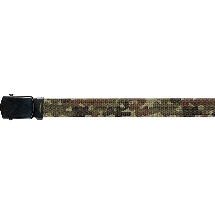 Woodland Camouflage   Olive Drab - Kids Military 34 in. Reversible Web Belt - Black Buckle