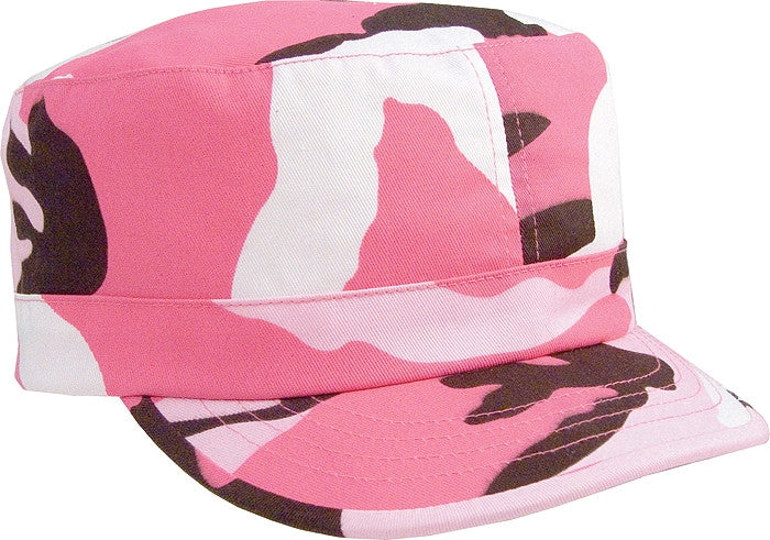 Pink Camouflage - Womens Adjustable Fatigue Cap - Cotton Polyester Twill
