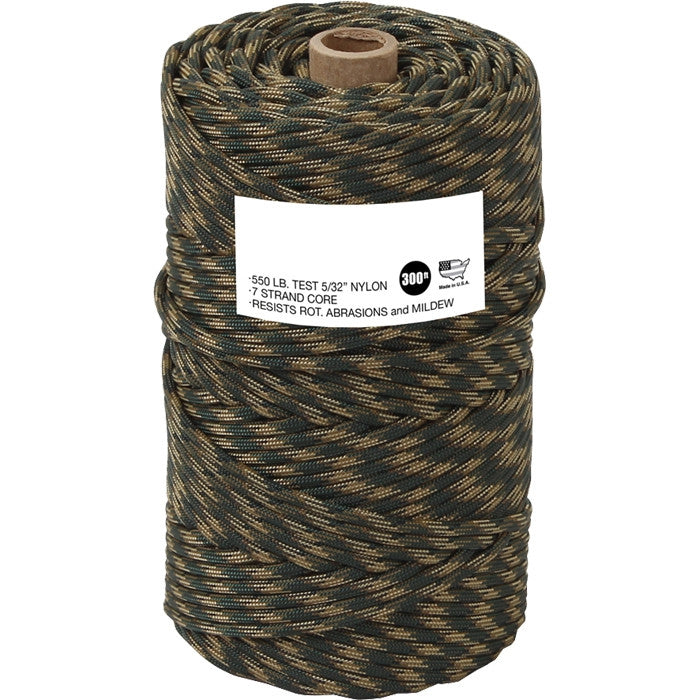 Woodland Camouflage - Military Grade 550 LB Tested Type III Paracord Rope 300' - Nylon USA Made