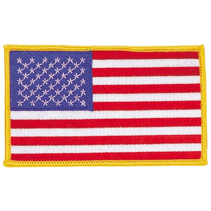Red White Blue - US Flag Sew On Patch with Gold Border