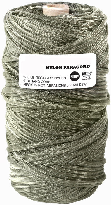 Olive Drab - Military Grade 550 LB Tested Type III Paracord Rope 300' - Nylon USA Made