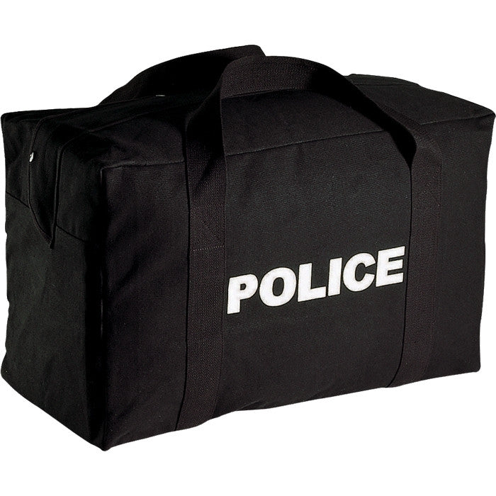 Black - Law Enforcement Two Sided POLICE Equipment Gear Bag - Cotton Canvas