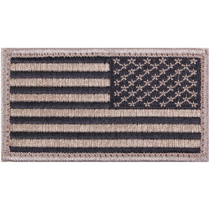 Khaki Black - Reversed US Flag Patch with Hook and Loop Closure