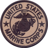 Coyote Brown - US MARINE CORPS Sew On Patch with USMC Emblem 3 in.'