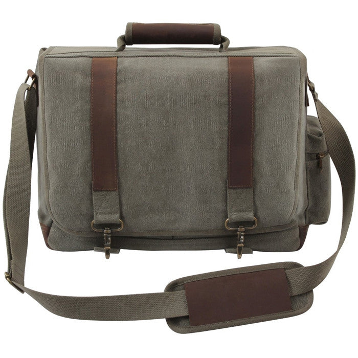 Olive Drab - Pathfinder Laptop Shoulder Bag - Leather Canvas