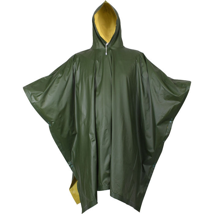 Olive Drab To Yellow - Reversible Rubberized Nylon Poncho
