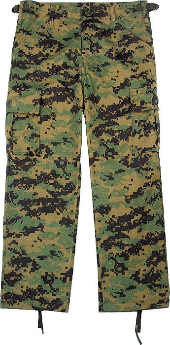 Digital Woodland Camouflage - Kids Military BDU Pants