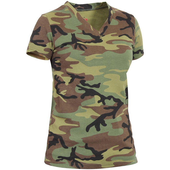 Woodland Camouflage - Womens Long Length V-Neck T-Shirt