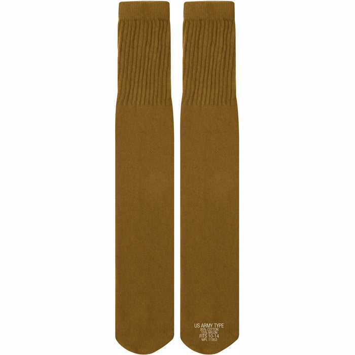 Coyote Brown - Military GI Style Tube Socks Pair - USA Made