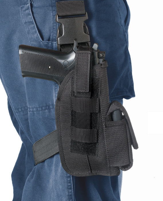 Black - Leg Strap Tactical Holster Glock 17 4 in.