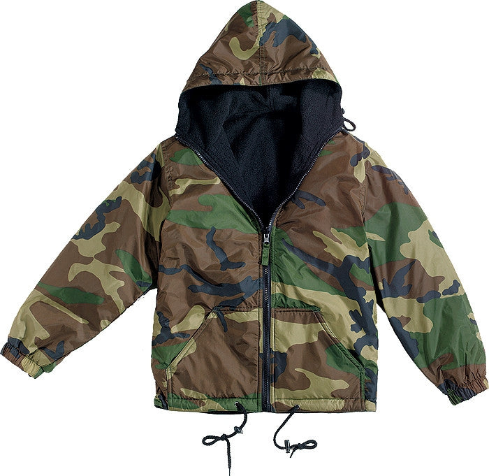 Woodland Camouflage Black - Reversible Outdoor Hooded Jacket - Nylon Fleece