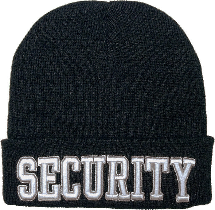 Black - Deluxe SECURITY Embroidered Watch Cap with White Lettering
