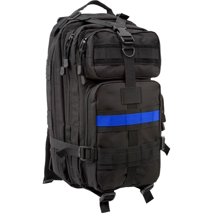 Black - Thin Blue Line (Support the Police) MOLLE Compatible Medium Transport Pack