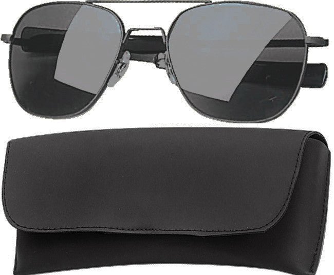 Black - Military 52mm Air Force Pilots Aviator Sunglasses with Case - Smoke Lenses