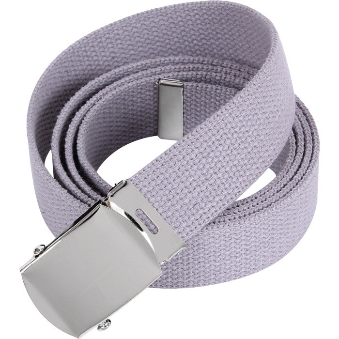 Grey - Military Web Belt with Chrome Buckle 4177 54 in.