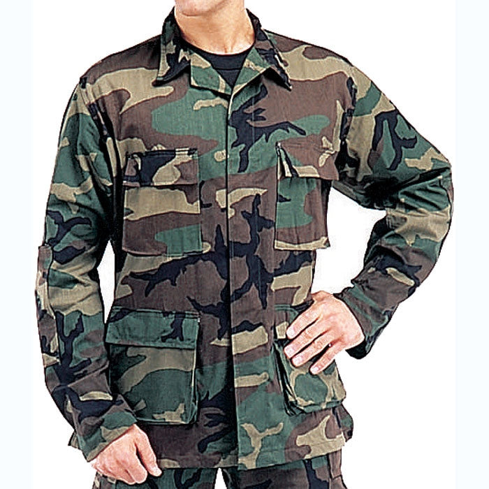 Woodland Camouflage - Military BDU Shirt - Cotton Ripstop