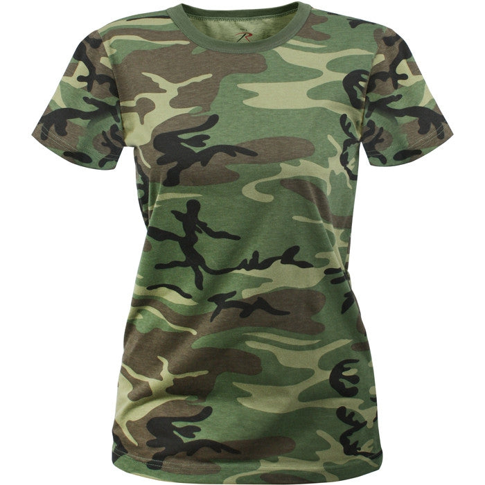 Woodland Camouflage - Womens Military Long T-Shirt