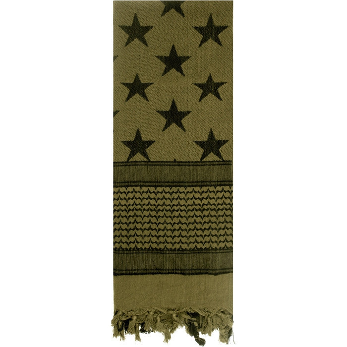 Olive Drab - US Stars and Stripes Shemagh Tactical Desert Scarf