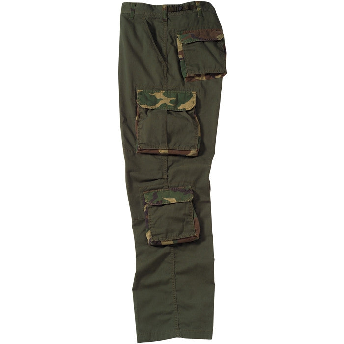 Olive Drab - Military Vintage Fatigue Pants with Woodland Camouflage Army Rigid Accent