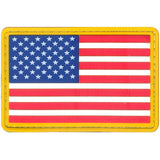 Red-White-Blue Gold Border - PVC US Flag Patch with Hook Back