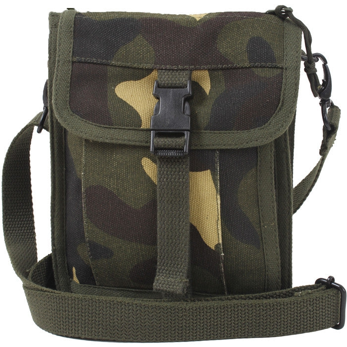 Woodland Camouflage - Tactical Canvas Travel Portfolio Shoulder Bag