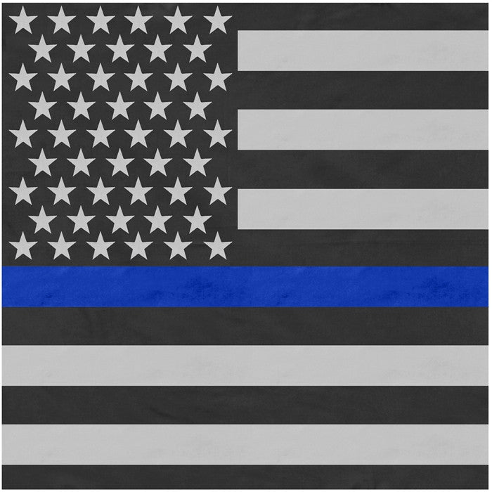 Subdued US Flag with Blue Line 22 in. x 22 in. Cotton Bandana - Support the Police