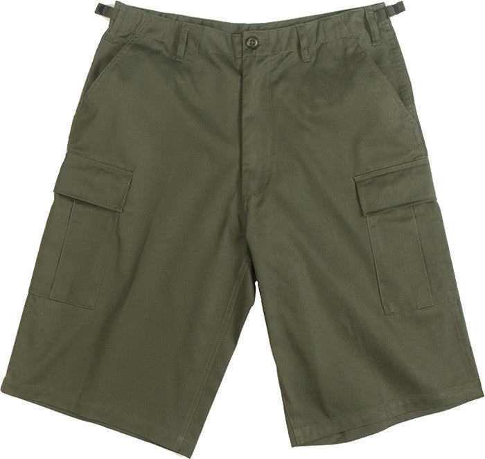 Olive Drab - Military Long Cargo BDU Shorts - Polyester Cotton Twill