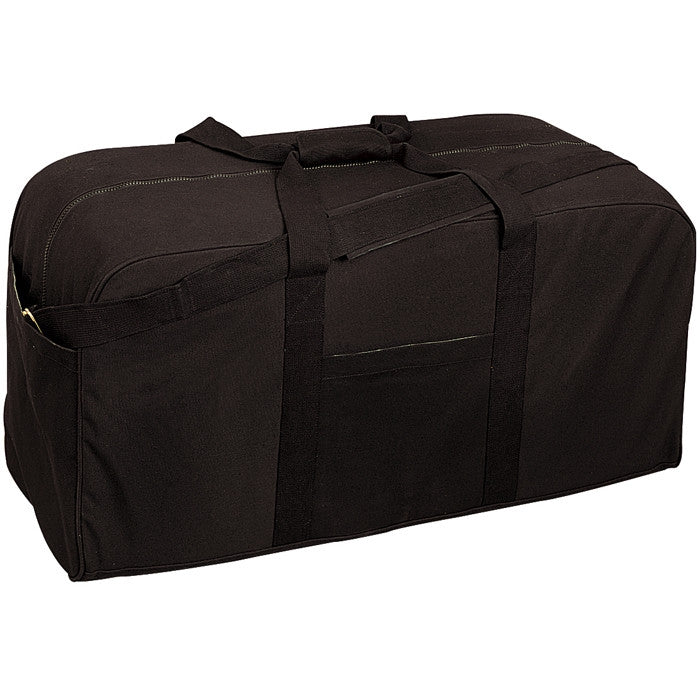 Black - Military GI Style Jumbo Deluxe Cargo Bag - Cotton Canvas